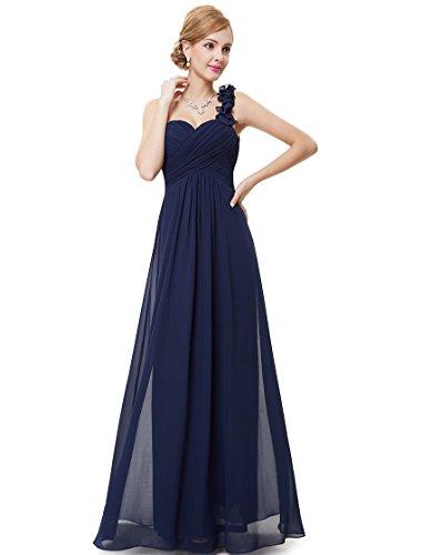 Ever-Pretty Vestito da Cerimonia Donna Una Spalla Chiffon Linea ad A Stile Impero Lungo Blu Navy 36