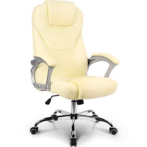 Neo Chair Office Chair Computer Desk Chair Gaming - Ergonomic High Back Cushion Lumbar Support with Wheels Comfortable White Leather Racing Seat Adjustable Swivel Rolling Home Executive…