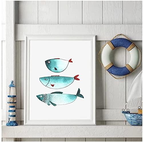 Dibujos animados divertidos peces impresiones en lienzo publicar en moda colores turquesa y rojo imágenes artísticas estilo océano-50x70cmx1pcs -sin marco