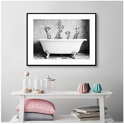 Zhaoyangeng baby dier, badkamer, panda, poster op canvas, kinderkamer, schilderkunst, Scandinavisch schilderij, kinderkamer, decoratief, 50 x 70 cm, oningelijst
