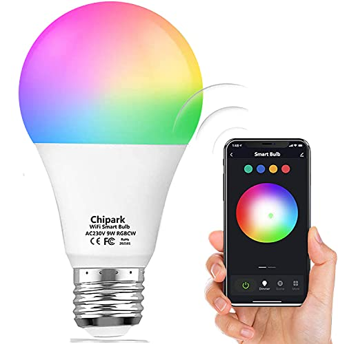 Chipark Alexa Bulbs WiFi Smart Light LED Bulbs Compatible with Alexa Echo and Google Home, Dimmable Colour Changing Lights Bulbs, A19 E26 8W Warm White 2700k, 75W Equivalent, No Hub Required,1 Pack