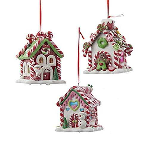 Kurt Adler Holiday Decorative Batter Operated Gingerbread LED Candy House Hanging Accessory Christmas Tree Ornament Set with String Hanger (3 Pack)