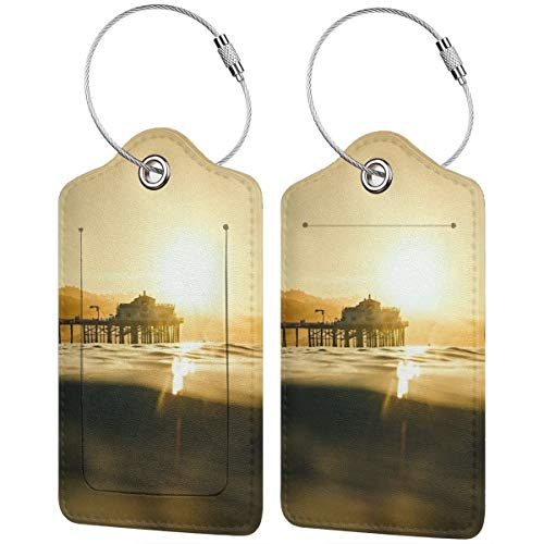 Best Beaches In Los Angeles County Fashion Leather Luggage Tags With Full Back Privacy Cover W/Steel Loops