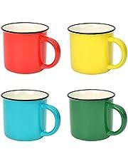 4 st emalj kaffe te mugg set, emalj dricka muggar koppar, keramiska koppar för hem/kontor/resor/camping, 350 ml 12 oz