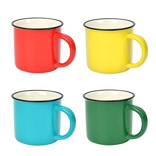 OFNMY Juego de 4pcs tazas de té esmaltadas colores reutilizable de 350ml ideal para el hogar/oficina/viaje/camping