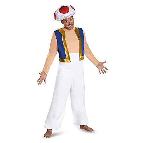 Disguise Men's Toad Deluxe Adult Costume, Red, XX-Large