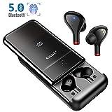 Écouteurs Bluetooth 5 sans Fil Stéréo Oreillettes 500H d'Autonomie CVC8.0 Microphones Anti-Bruit Casque Sport Léger Contrôle Tactile Intra-Auriculaire Étanche avec[LED 100%-0] 10000mAh Powerbank
