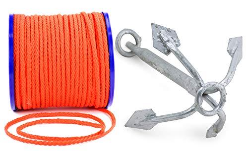 wellenshop Wurfanker 3 kg + Ankerleine 25 m Durchmesser Ø 8 mm Stahl Polyethylen Anker Suchanker Netzanker Bootsanker Festmacherleine Boot