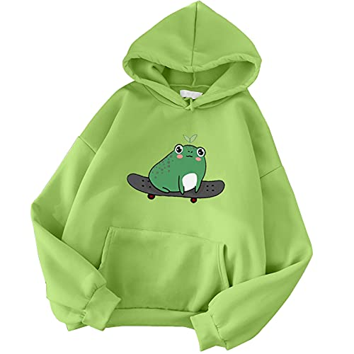 Briskorry Sudadera con capucha para mujer, diseño de rana, con capucha, gran tamaño, para otoño, invierno, ropa de calle con bolsillo, manga larga
