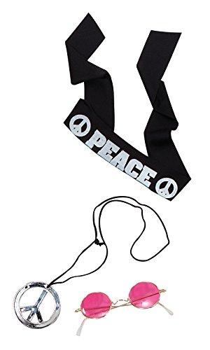 John Lennon Fancy Dress Costume Kit Hippy Hippie Headband Glasses Necklace Retro (accesorio de disfraz)