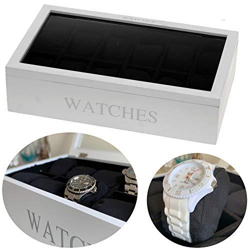 LS-LebenStil Uhrenkasten Holz Weiß 12 Uhren Uhrenbox Uhrenschatulle Uhrenkiste