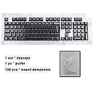 108キーメカニカルキーボード 1セットキーキャップのセット機械キーボード互換性のあるLED照明キーキャップOEMプロファイル (Color : Black n Ring(Blister)