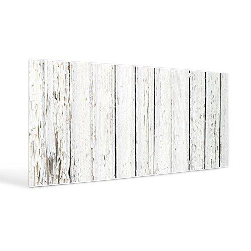 banjado Design Magnettafel weiß | Wandtafel magnetisch 37x78cm groß | Metall Pinnwand | Memoboard mit Magneten und Montageset | Motiv Weißer Bretterzaun