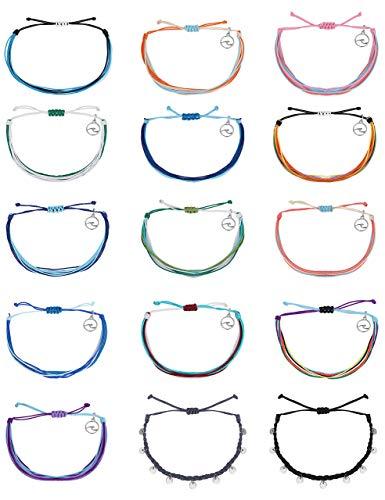 Milacolato 15Pcs Shaka Muted Strand Bracelet for Women Men Braided Bracelet Anklet Weave OG Wave Wax Coated Charm Bracelet, Adjustable Band Friendship Bracelets