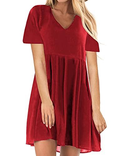 YOINS Sommerkleid Damen Minikleid für Damen Brautkleid Glockenärmel Tshirt Kleid Rundhals Langarm Minikleid Strandkleid Langes Shirt Lose Tunika Kurzarm-Rot XXL