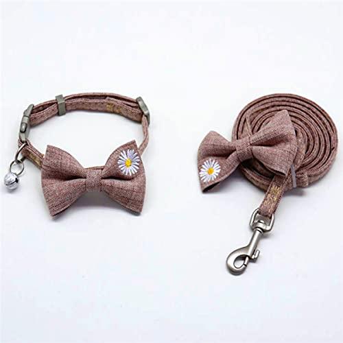 MRBJC Cómodo ajuste de tela suave collar de perro con lazo para perros gatos con hebilla y cuerda ajustable cómodo collar para mascotas conjuntos marrón claro M