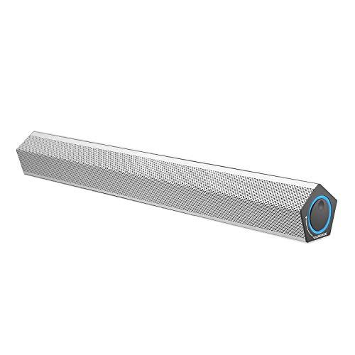 Sanyun SW009 12W Computer-Lautsprecher Soundbar, mit Bluetooth 5.0 Funktion, AptX Codec, Integrierter 24-Bit-Decoder, 2 x USB-Erweiterungsanschlüsse (nur 1 x USB-C-Kabel für Strom und Audio, Silber)