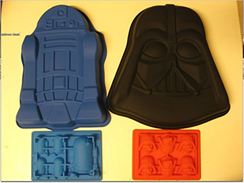 Star Wars R2-d2 Darth Vader Silicone Birthday Cake Pan Mold Ice Tray Set of 4
