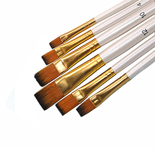 SEEFOUN Paint Brushes, 6 Pcs Paint Brushes for Acrylic Painting, Flat Paint Brushes Set, Watercolor/Gouache/Oil Paint Brushes, Paint Brushes for Kids, Students & Artists