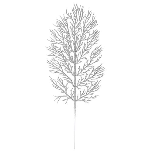 Hemoton 12PCS Artificial Pine Branches Glitter Pine Needles Spray Stems Faux Cedar Spray Picks Greenery DIY Accessories for Christmas Holiday Winter Garden Decor Silver