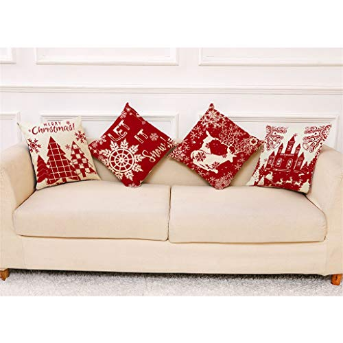 Pillow Case Christmas Pattern Sofa Car Throw Cushion Cover Home Decor 4PC, 4PCS Xmas Pattern Pillowcase Home Decor Pillowcase, red