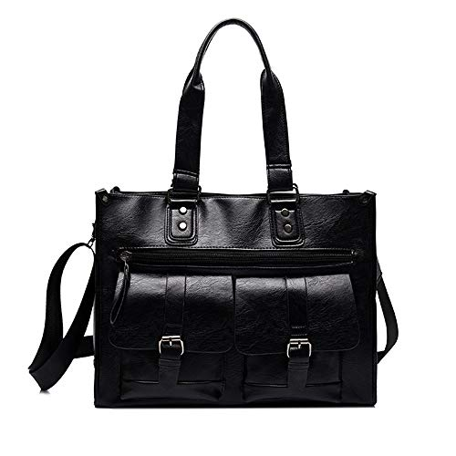 Briefcases, Big Travel Bags, Men's Bags, Multi-functional Shoulder Messenger Bags, Handbags, Sports Outdoor Bags, Retro Style, Beef Tendon Leather (Color : Black)