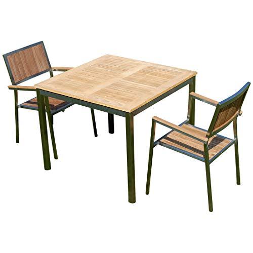 ASS ASS Gartengarnitur Edelstahl Teak Set: Tisch 90x90 cm + 2 Teak Sessel A-Grade Teak Holz Serie Kuba Gastroqualität