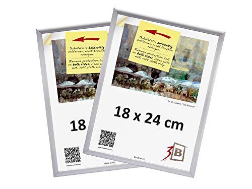 3B Conjunto de 2 Piezas - ALU Foto de Aluminio Marcos de Fotos - 18x24 cm - Plata Mate