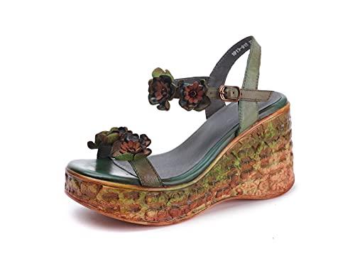 IRON JF Sandalias para Mujer Sandalias De Punta Abierta para Mujer Coloridas Zapatillas Sin Espalda Flores De Cuero Vintage Hebilla Plataforma De Tiras Sandalias (Color : A Green, Size : 36)