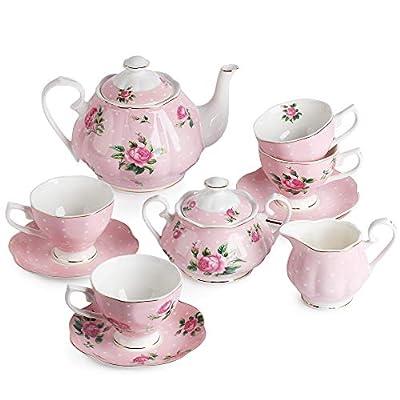 BTaT- Floral Tea Set, Tea cups (8oz), Tea Pot (38oz), Creamer and Sugar Set, Gift box, China Tea Set, Tea Sets for Women, Tea Cups and Saucer Set, Tea Set for Adults, 4 Tea Cups Set, Porcelain Tea Set