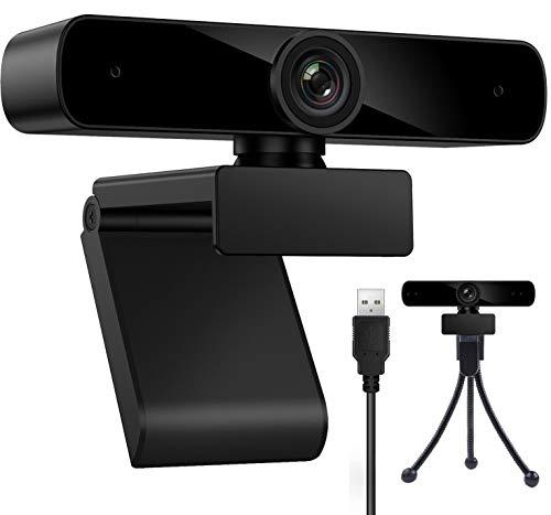 Webcam 1080P mit Mikrofon für Desktop,Laptop,Computer, PC, USB Webcam für Videoanruf, Konferenz, Online-Unterricht, mit Stativ und Abdeckblende, Web-Kamera kompatibel mit Windows, Mac und Android