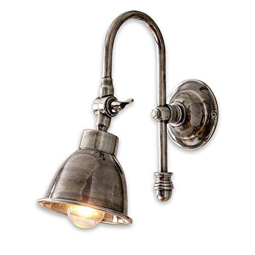 Loberon Wandlampe Gemma, Messing, H/B/T 23/11 / 20 cm, antiksilber, E14, max. 25 Watt, A++ bis E