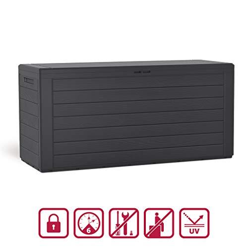 Kreher Kompakte Kissenbox/Aufbewahrungsbox in Ahthrazit mit 280 Liter Nutzvolumen. Robust, abwaschbar und einfach im Aufbau!