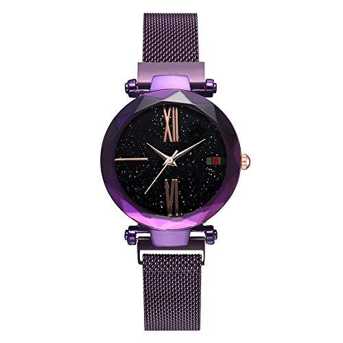 WLH Moda Aleación Malla Correa Correa Reloj De Cuarzo Cielo Estrellado Patrón De Esfera Reloj Femenino Púrpura