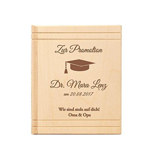 Spardose Buch aus Holz - mit Gravur zur Promotion – Personalisiert mit Namen und Datum – Motiv Hut - Sparbüchse aus Birkenholz als Geschenk zum Doktortitel – Sparschwein als Abschlussgeschenk