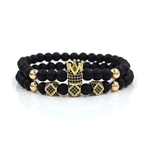 1 unid pulseras para los hombres corona cubo Mirco cristal piedra volcánica pulsera hombres accesorios oro