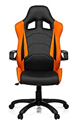 hjh OFFICE 621836 Gaming PC chair RACER PRO I imitation leather black white, firm padding, ideal for gambling, executive chair, fixed armrests, office chair armchair, racer 120Kg, XXL executive chair, gamer chair