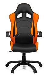 hjh OFFICE 621838 Gaming PC Stuhl RACER PRO I Kunstleder schwarz orange,feste Polsterung, ideal zum Zocken, Chefsessel, feste Armlehnen, Bürostuhl Sessel, Racer 120Kg, XXL Chefsessel, Gamer Stuhl