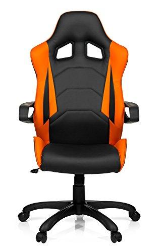 hjh OFFICE 621838 Gaming Stuhl GAME PRO I Kunstleder Drehstuhl im Sportsitz-Design, hohe Rückenlehne, Schwarz/Orange