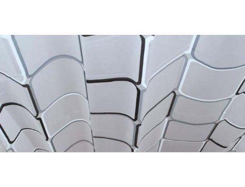 シャワーカーテン防水防カビ加工カーテンリング付属白黒スクエアA021020AA