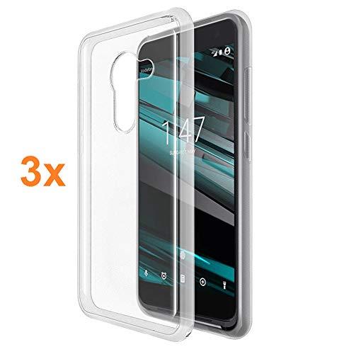 REY 3X Funda Carcasa Gel Transparente para Vodafone Smart Platinum 7, Ultra Fina 0,33mm, Silicona TPU de Alta Resistencia y Flexibilidad