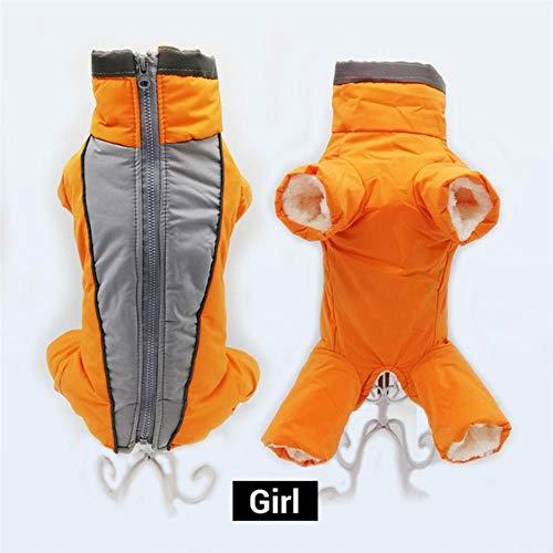 PONNMQ Boy/Girl Hunde-Overall Winter warme wasserdichte Hundedaunenjacke Reflective Overall für kleine Hunde mit Reißverschluss Haustier-Kleidung Snowsuit, orange für Mädchen, 18