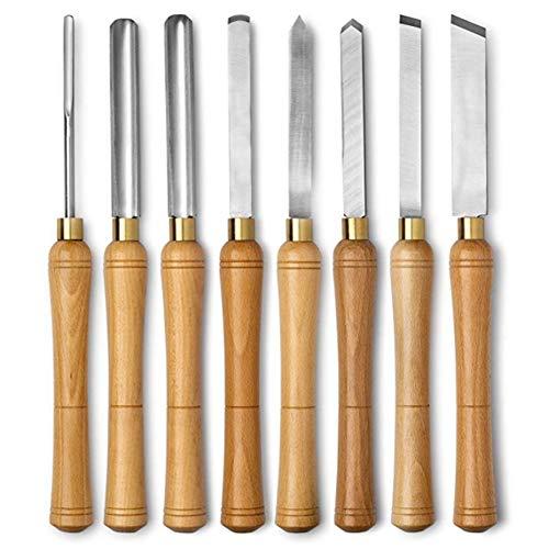 Draaibeitel Set 8-delige set met houten opbergdoos voor houtdraaiende hardhouten handgrepen, gemaakt van hoge snelheid staal en messing Ferrules (hout)