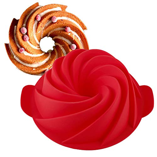 1 Pack Silicone Bundt Cake Pan Non-stick Cake Mold Eco-Friendly Baking Molds 9 Inch (Red)