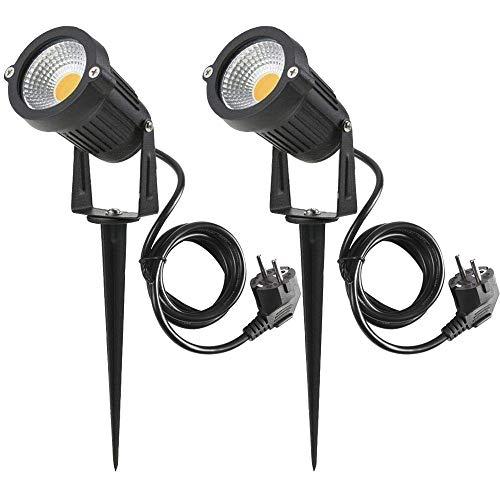 2 Packs, 5W LED Impermeable IP65, Luz de Paisaje al Aire Libre 220V Focos de exterior con enchufe, de iluminación Para Calzada, Patio, Cesped, Pathway, Jardín