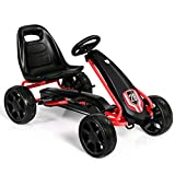 HONEY JOY Go Kart for Kids, 4 Big Wheels Racer Ride On Pedal Car with 2 Safety Brakes, Adjustable Seat, EVA Rubber Tires, Axle, Clutch, On Foot Pedal Go Cart for Kids Age 3-8(Black)