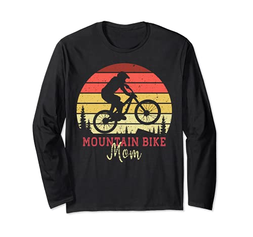 mountain bike moma Mountain Bike Mom with Vintage Sunset Maglia a Manica