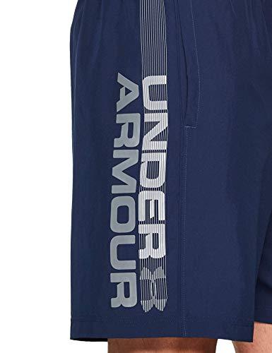 Under Armour Woven Graphic Wordmark, ultraleichte und atmungsaktive Sporthose, komfortable Sportshorts mit loser Passform Herren, Academy / Graphite , S