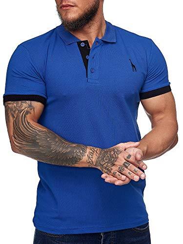 OneRedox Herren Poloshirt Polohemd Basic Kurzarm Einfarbig Slim Fit Polo Shirt Baumwolle T-Shirt Polokragen M-XXXL Modell 1404 Blau S