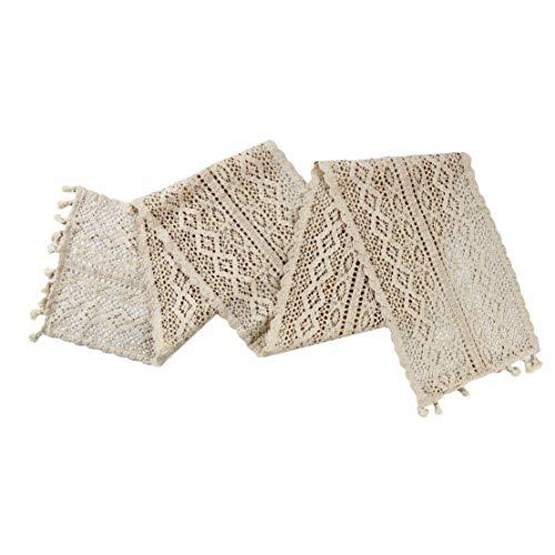 Kissherely Vintage handgemachte Häkelspitze Tischläufer Baumwolle Retro Makramee Tischläufer mit Quasten Hochzeit Dekor (24 * 160 cm)